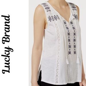 Lucky Brand white and blue embroidered peasant top